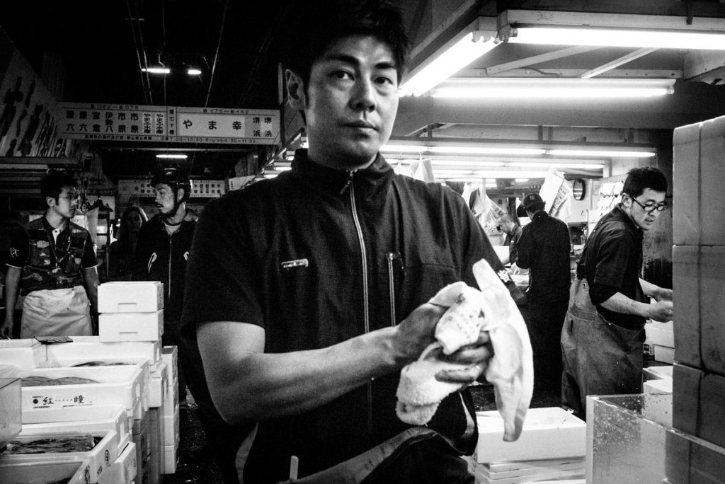 "Black and white photograph from the book ""Tokyo Tsukiji"" by Nicola Tanzini."